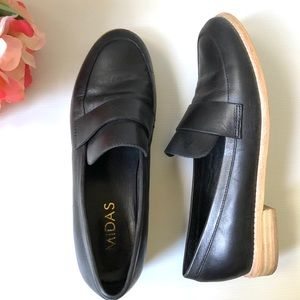 MIDAS Black Leather Aqueen Flat Loafers - Size 39